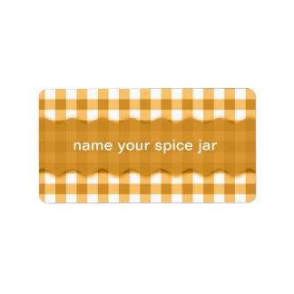 Etiqueta a cuadros de la cocina del diseño de la g etiquetas de dirección