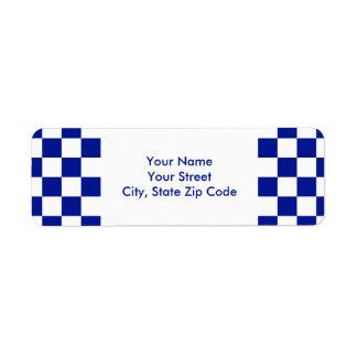 Etiqueta a cuadros real del azul y blanca del etiquetas de remite