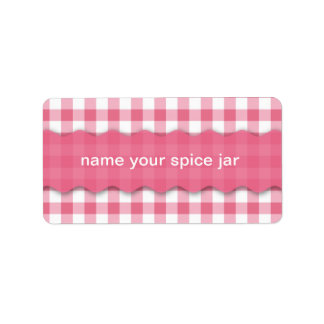 Etiqueta a cuadros rosada de la cocina del diseño etiquetas de dirección