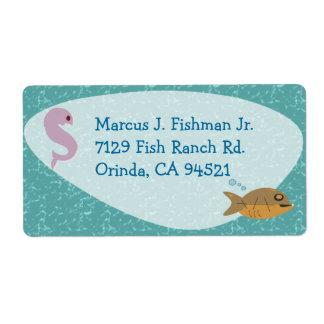 Etiqueta a pescado de los años 50 etiqueta de envío