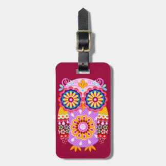 Etiqueta abstracta colorida del equipaje del búho etiquetas bolsa