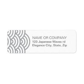 Etiqueta abstracta japonesa gris del remite de la  etiqueta de remite