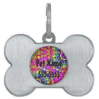 Etiqueta abstracta rosada entintada del mascota placas de nombre de mascota