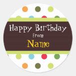 Etiqueta adaptable del cumpleaños de los puntos
