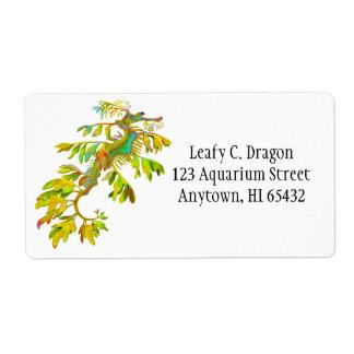 Etiqueta adaptable del dragón frondoso del mar