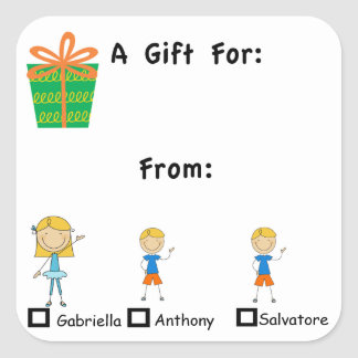 Etiqueta adorable del regalo con el pegatina de