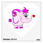 Etiqueta afortunada linda de la pared del elefante