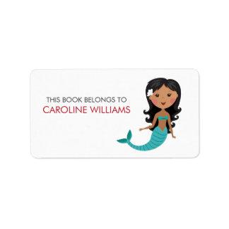 Etiqueta afroamericana linda del libro del bookpla etiquetas de dirección