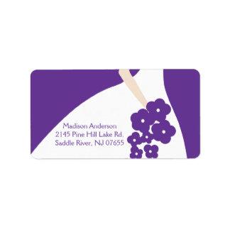 Etiqueta agraciada púrpura del remite de la novia etiquetas de dirección