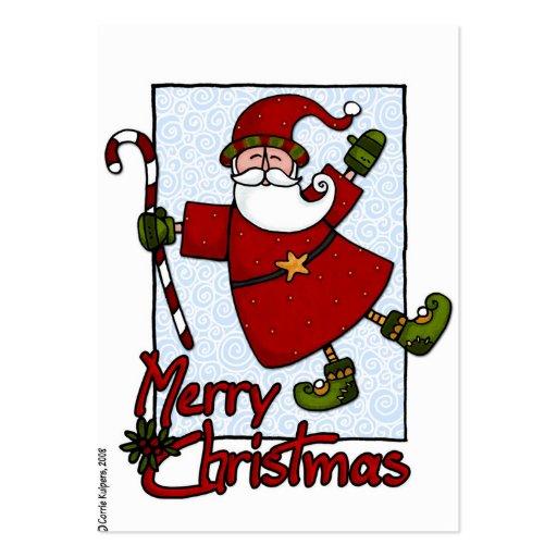 etiqueta alegre del regalo de santa tarjetas de visita grandes