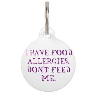 Etiqueta alerta médica de las alergias alimentaria placas de mascota