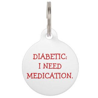 Etiqueta alerta médica diabética para los perros