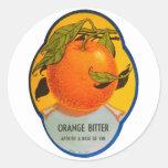 Etiqueta amarga anaranjada del vintage del licor