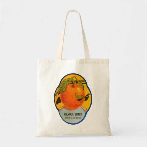 Etiqueta amarga anaranjada del vintage del licor r bolsa