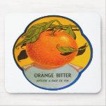Etiqueta amarga anaranjada del vintage del licor r tapetes de raton