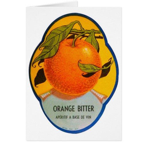 Etiqueta amarga anaranjada del vintage del licor r tarjetón