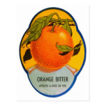 Etiqueta amarga anaranjada del vintage del licor r postales