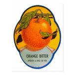 Etiqueta amarga anaranjada del vintage del licor postal