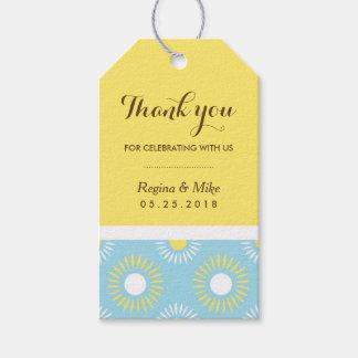 Etiqueta amarilla azul del regalo del modelo del etiquetas para regalos