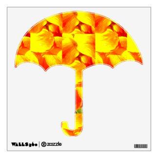 Etiqueta amarilla brillante del paraguas del