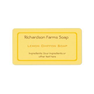 Etiqueta amarilla del jabón del color sólido etiquetas de dirección
