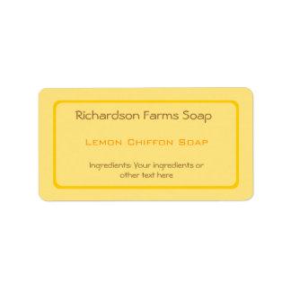 Etiqueta amarilla del jabón del color sólido etiqueta de dirección