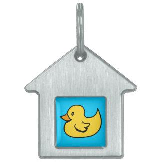 Etiqueta amarilla del mascota del pato placa de mascota