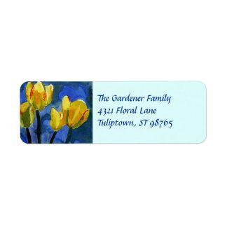 Etiqueta amarilla del remite de los tulipanes etiquetas de remite