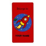 Etiqueta amarilla roja del Bookplate de Rocket Etiquetas De Envío