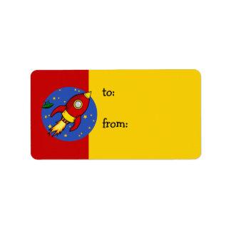Etiqueta amarilla roja del regalo de Rocket Etiqueta De Dirección