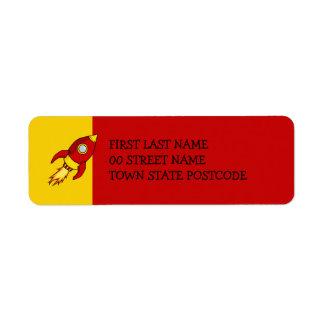 Etiqueta amarilla roja del remite de Rocket Etiqueta De Remite