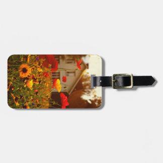Etiqueta amarilla soleada del equipaje de las