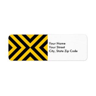 Etiqueta amarilla y negra del remite de los etiqueta de remite