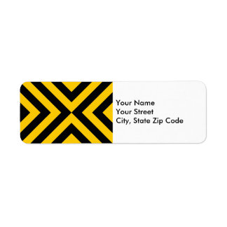 Etiqueta amarilla y negra del remite de los galone etiqueta de remite
