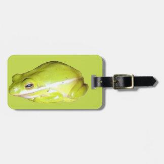 Etiqueta americana verde del equipaje de la rana a etiquetas de maletas