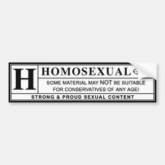 Etiqueta amonestadora homosexual pegatina para auto