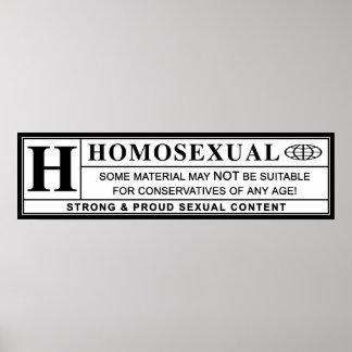 Etiqueta amonestadora homosexual póster