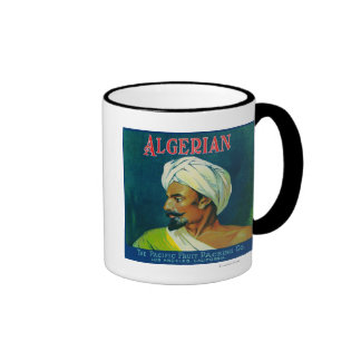 Etiqueta anaranjada argelina taza de café