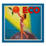 Etiqueta anaranjada de Eco del vintage Poster
