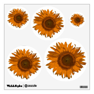 Etiqueta anaranjada de la pared de los girasoles vinilo decorativo