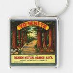 Etiqueta anaranjada de Yosemite Asso del vintage - Llavero Cuadrado Plateado