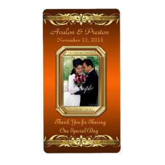 Etiqueta anaranjada del boda del vino del oro de l etiquetas de envío