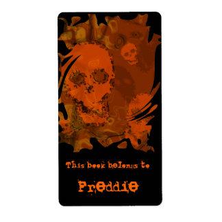 Etiqueta anaranjada del bookplate del remolino de etiqueta de envío