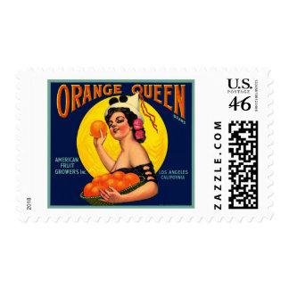 Etiqueta anaranjada del cajón de la reina anaranja sellos