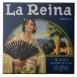 Etiqueta anaranjada del cajón de la Reina del La Azulejo Ceramica