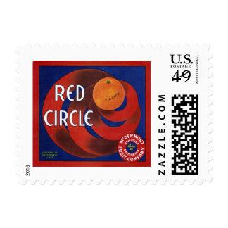 Etiqueta anaranjada del cajón del círculo rojo estampillas
