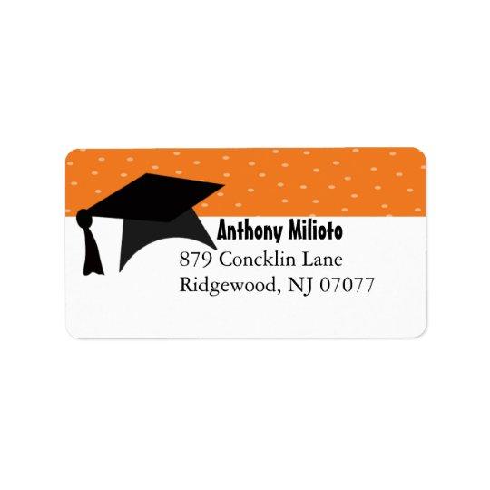 Etiqueta anaranjada del casquillo de la graduación etiquetas de dirección