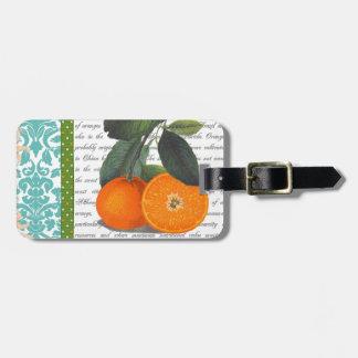 Etiqueta anaranjada del equipaje de la fruta de la etiquetas de equipaje