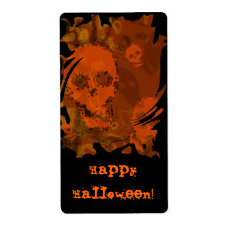 """Etiqueta anaranjada del """"feliz Halloween"""" de los Etiquetas De Envío"""