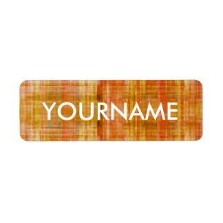 Etiqueta anaranjada del nombre del modelo rayado etiquetas de remite